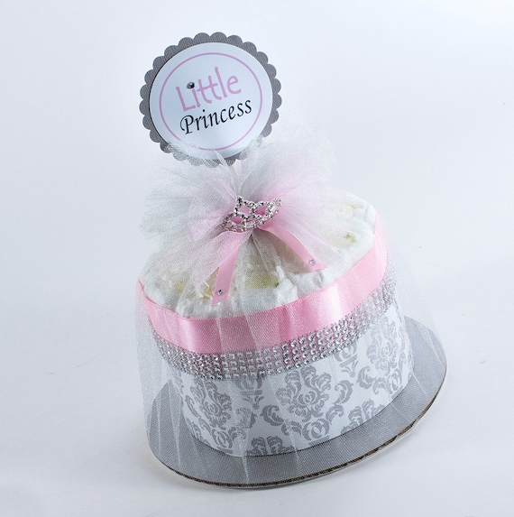 Diaper Cake - Diaper Cakes - Mini Diaper Cake - Baby Gift - Little Princess Diaper Cake - Princess Baby Shower - Princess Diaper Cake