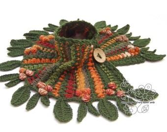 Colorful boho fairy crochet neckwarmer scarf leaves Bohemian clothing