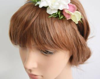 Spring Flower Crown, bridal flower crown, bridal headband. spring wedding, bridesmaid headband, flowergirl headband, bridal headpiece