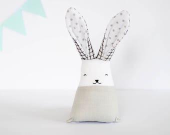 Monochrome Baby fabric toy, stuffed bunny rabbit, white grey toys, christmas baby toy, plush baby toy, polka dots, crib toy nursery