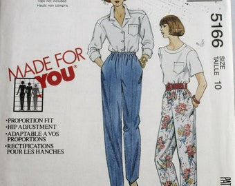 Misses Pants Sewing Pattern - Misses Pull on Pants Sewing Pattern - Mccall's 5166 - New - Uncut - Size 10