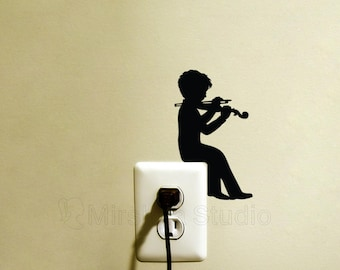 Boy Playing Violin Light Switch Fabric Wall Sticker - Music Wall Decal - Boys Room Decor - Music Wall Art - Gift For Musician - Vinyl Art