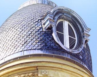Paris photography, slate roof, Paris window, blue slate roof, Paris architecture, round window, fine art photography, Paris decor, wall art
