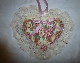 Wooden Shabby Chic Hanging Heart with Fabric Roses,Cluny Lace and Pink Ribbon