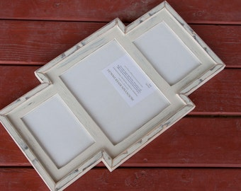 Collage Picture Frame - MULTI 3 Opening distressed collage picture frame with 1) 8x10 & 2) 5x7's ...Almond....HANDMADE
