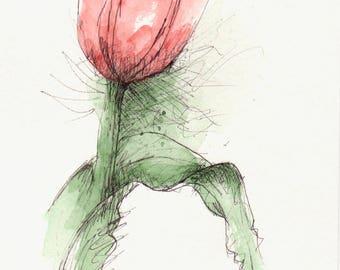 Tulip Original Art Watercolor Painting Pen and Ink Watercolor Flower Red Tulip Hand Painted Flower Art