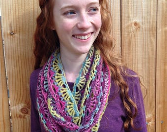 Waves and Rainbows Infinity Scarf Crochet Pattern - lacy infinity scarf, pineapple lace scarf, crochet lace pattern, fan lace scarf