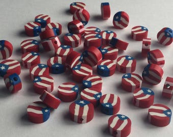 Puerto Rico fimo flag bead