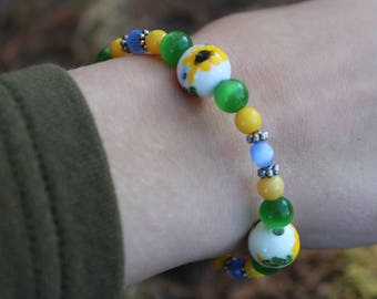 Blue, Green & Yellow Sunflower Bracelet