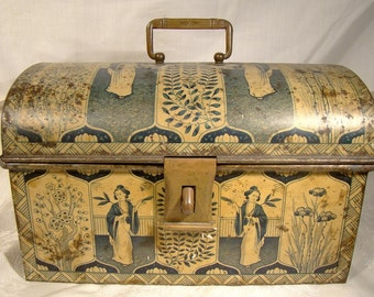 Antique Lithographed Tea Chest Tin with Hasp 1900 Chinese Lady Motif