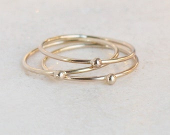 gold ring. SOLID 14k gold stacking band. ONE droplet ring. tiny gold ball ring. stacking ring. dainty gold stacking ring. modern gold ring.