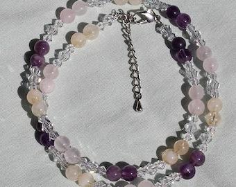 Gemstone Bead Necklace, Amethyst, Citrine, Rose Quartz, Round Bead Jewellery, Swarovski Crystals, Handmade Jewellery, Semi Precious Beads