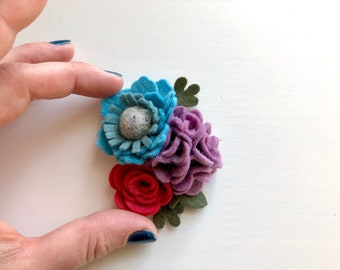 Cluster flowers headband with blue, hydrangea purple and deep pink blossoms with green leaves - girl headband - spring felt flowers