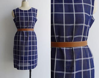 Vintage 70's Grid Lines Navy Blue Pencil Shift Dress M