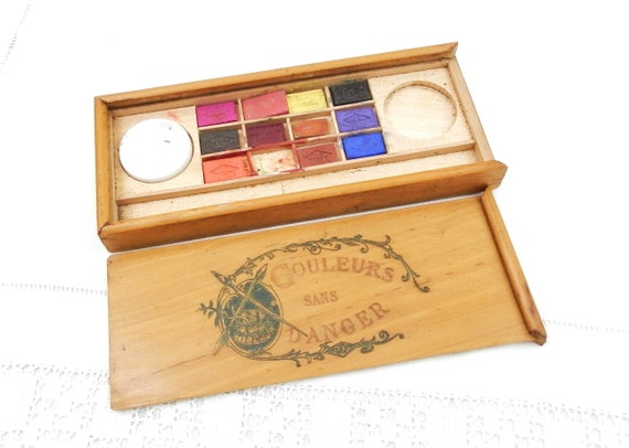 Antique French Water Color Artist Wooden Paint Box with Sliding Lid and Ceramic Water Dish, Retro Paints from France, Vintage Craft Supply