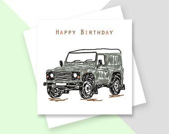 Land Rover Happy Birthday greetings card
