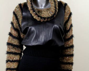Vintage 70s Leather & Knit Cowl Neck Sweater Top