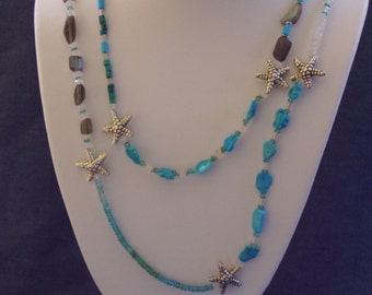 Ocean Inspired  Sleeping Beauty Turquoise Apatite Moonstone Labradorite  Silver Starfish Double Length Necklace