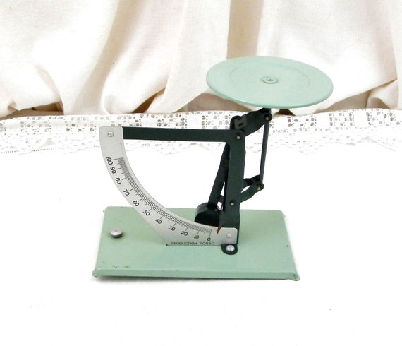 Vintage French Mint Green Metal Letter Desk Scales, Retro 1950s Office Postal Weighing Machine from France, 50s Brocante Decor, Fleamarket