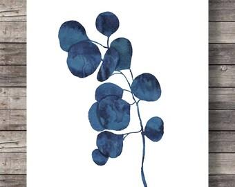 Ink blue eucalyptus foliage print   Printable art   painting indigo leaf print  watercolor leaf botanical illustration eucalyptus print