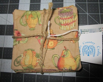 1 Set of 4  tea pot Coasters handmade Made in Maine hand made by Carol's Country Crafts