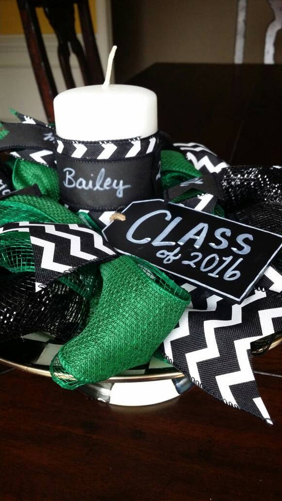 Graduation centerpiece party green black senior
