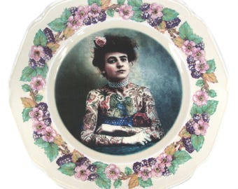 The Tattooed Lady Portrait Plate 9""