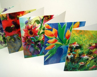 "Note Cards - Assorted 4"" x 6"" - Tulips Echinacea Hibiscus Lilac Sunflower"