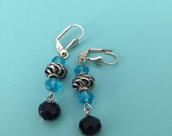 Dangle Earrings / Silver Earrings / Turquoise Earrings / Black Earrings / Women's Gift / Boho Earrings / Drop Earrings / Statement Earrings