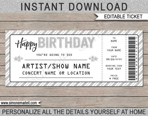 Birthday Gift Concert Ticket Printable Gift Voucher