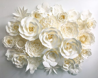 paper flower backdrop in off-white ivory color