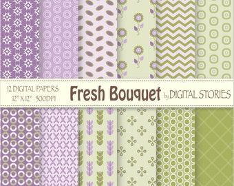 """Floral Digital Paper: """"FRESH BOUQUET"""" Purple Green Lilac Scrapbook papers for invites, cards, crafts"""