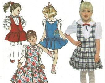 Simplicity 9757 Easy Childs Low Waist JUMPER in 2 Lengths & Button Front BLOUSE Sewing Pattern, Girls size 3 4 5 6 6X Vintage 1990 Uncut