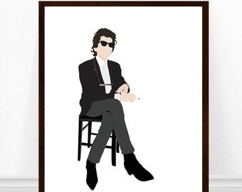 Bob Dylan Art Print, Minimalist Poster, Bob Dylan Illustration, Bob Dylan Portrait Art, Poster