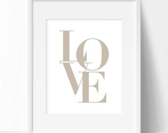 Love Typography Beige Print, Printable Art, Quote Wall Art, Love Typography, Nursery Printable, Graphic Art, Beige Art, Beige Nursery Print