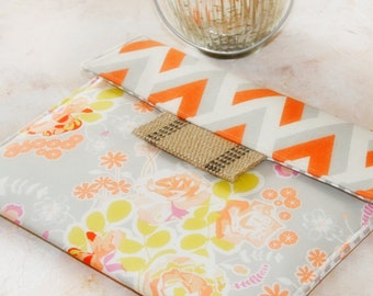 Kindle Cover Padded, Kindle Case, Nook Cover , Ereader Case, Custom Sleeve in Tangerine Tango