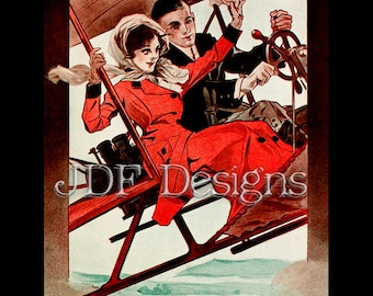 Instant Digital Download, Vintage Graphic, Couple in Airship, Airplane Romance Valentine's Day, Wedding Steampunk-esque Printable Image
