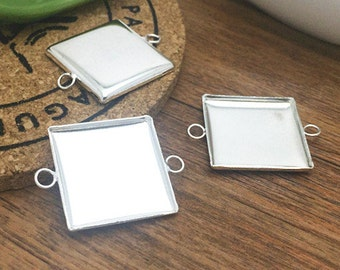 5pcs 20x20mm Silver Plated Brass Square Cameo Base Setting Charm Connector LB102-6