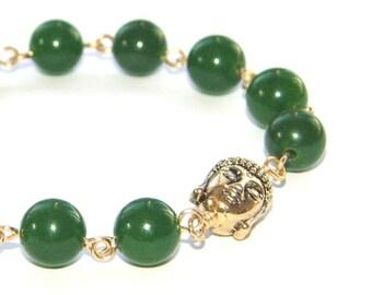 Golden Buddha Bracelet, Greenstone - Nephrite Jade - Gemstone Beads