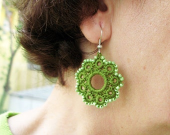 PDF Tutorial Crochet Pattern...Beaded Dangle Earrings -16