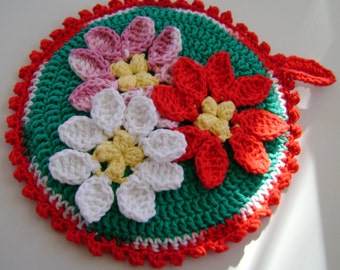 Crocheted Hot Mat Trivet Pot Holder Adorned with 3 Poinsettias