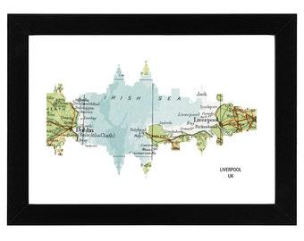 Liverpool City Skyline Print with vintage map