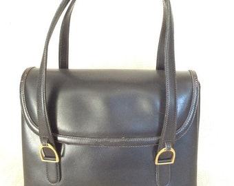 15% SUMMER SALE Authentic iconic vintage GUCCI black leather handbag purse rare