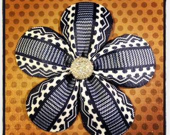 Navy and White Print...Girls Hairbows...Baby/Infant Hairbows...Toddler Hairclips...Hairclips
