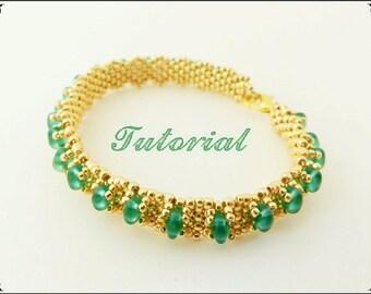 PDF Beaded Bracelet Tutorial, Seed Bead lesson, Beadwork, Bracelet Peyote Pattern ,  Beading pattern