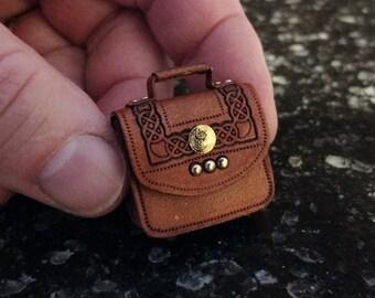 1:12 Dollhouse Miniature Leather Briefcase-Acorn Brown Celtic Design-In Stock