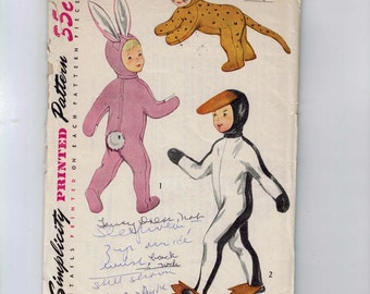 1950s Vintage Sewing Pattern Simplicity 4073 Boys Girls Childs Animal Costume Bunny Rabbit Penguin Cat Size Smalls 2 4 Chest 21 22 50s UNCUT
