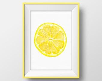 Lemon Slice Printable, Citrus Poster, Tropical Fruit Wall Art, Lemon Print, Yellow Kitchen Decor, Modern Dining Room Decor, Food Art