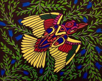 Folk art bird painting, original, hand painted