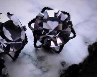 2pc Vintage Swarovski Crystal Filigree Flower 39ss 8mm Light Amethyst Connectors Charm 1 2 3 4 5 6 Ring Dark Oxidized Black Brass Setting 4F